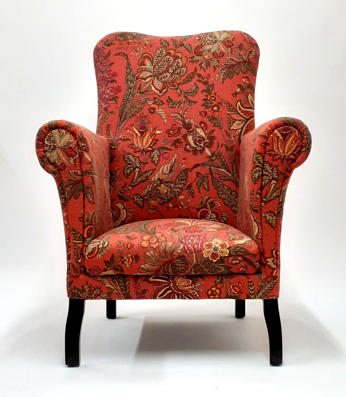 Cottage armchair feels the love again reupholstered in a classic Flower of Nepal linen print by Sanderson