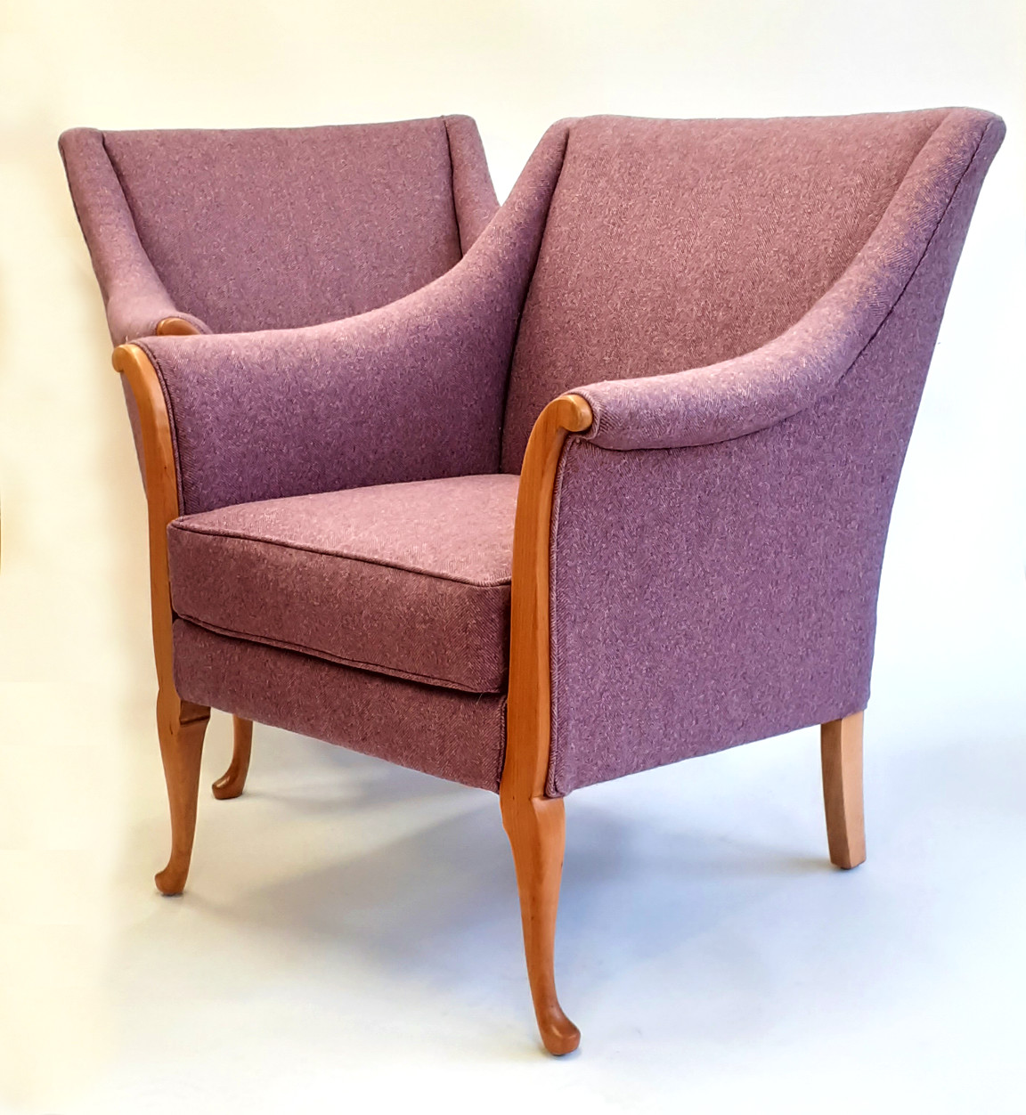 Pair of armchairs upholstered in 100% natural fibre with pure wool herringbone weave top fabric by Moon.