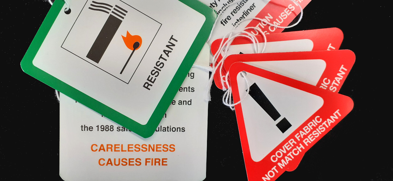 Upholstery safety lable hang tags