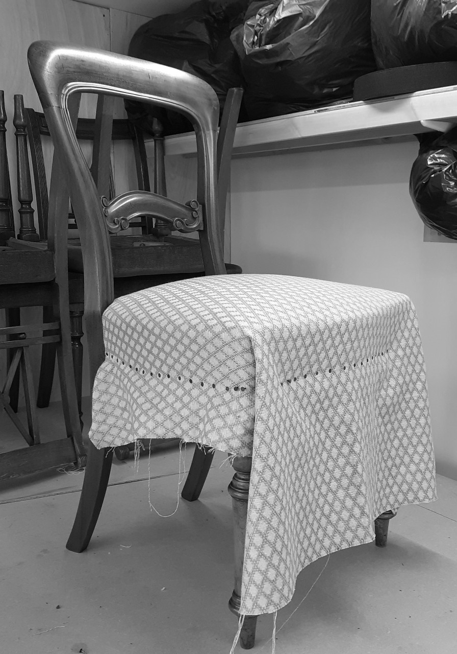 Top fabric over traditionally sprung dining chair